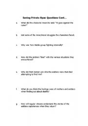 English Worksheets: Saving Private Ryan Questions