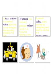 English Worksheets: Jobs and Relative Clauses Memory Game 2.