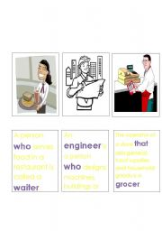 English Worksheets: Jobs and Relative Clauses Memory Game 3.