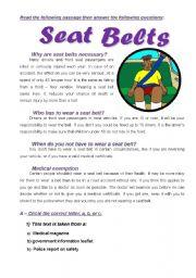 English Worksheets: Seat  Belts reading comprehension