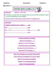 English worksheet: future with going to
