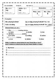 English worksheet: like and dislike