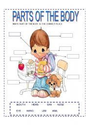 English Worksheets: parts of the body (part 2)