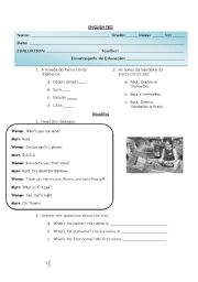 English Worksheets: Greetings - Test
