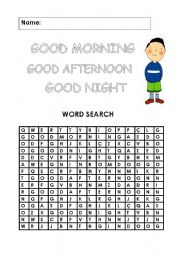 English Worksheets: Greetings word search