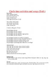 English Worksheets: Circle time activities and songs (body)