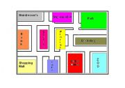 English Worksheet: Local Places / Directions / City Map