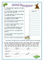 English Worksheets: Animal Describing 2