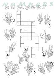 Numbers Crossword Puzzle + key