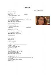 English worksheet: My girl