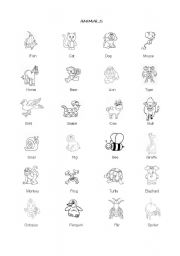 English Worksheets: ANIMALS FOR KIDS
