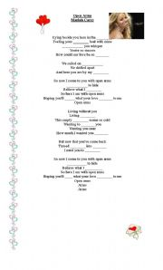 English Worksheets: Open Arms by Mariah Carey