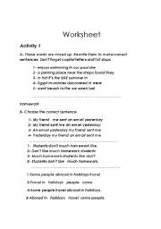 English Worksheets: sentence structure