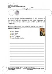 English Worksheets: life in the past