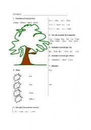 English worksheet: FRUIT AND COLORS
