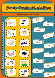 English Worksheets: Body Parts Matching