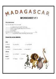 English Worksheet: Movie Session: Madagascar Worksheet # 1