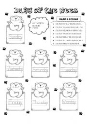 English Worksheet: TEDDY DAYS OF THE WEEK