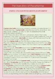 English Worksheet: LEARNING PAST SIMPLE THROUGH THE TRUE STORY OF POCAHONTAS- CHAPTER TWO : POCAHONTAS MEETS JOHN SMITH
