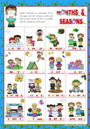 English Worksheet: Months of the Year Set (2)  + Seasons: Completing the Pictionary with the missing vowels