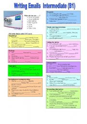 English Worksheet: Writing emails - useful expressions (with key)