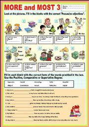 English Worksheet: More and Most 3 (review)