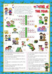 English Worksheet: Months of the Year Set  (3)  - Crossword puzzle