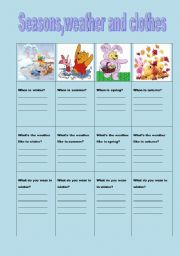 English Worksheet: seasons,weathe and clothes
