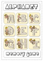 English Worksheet: Alphabet Memory Game