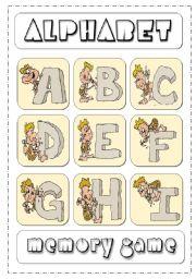 English Worksheets: Alphabet Memory Game