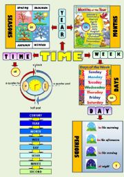 English Worksheet: TIME! - SEASONS, DAYS OF THE WEEK, MONTHS OF THE YEAR, PERIODS OF THE DAY, TELLING THE TIME (CLASSROOM POSTER)