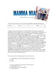 English Worksheet: Mamma Mia (movie Activity) - with answers!