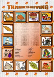 English Worksheet: Thanksgiving vocabulary and wordsearch