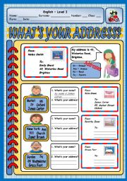 English Worksheet: WHAT�S YOUR ADDRESS?