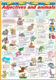 English Worksheets: ADJECTIVES AND ANIMALS-FILL IN THE BLANKS (B&W VERSION INCLUDED)