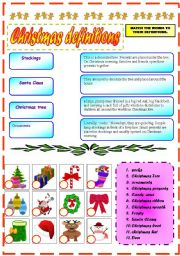 English Worksheet: CHRISTMAS DEFINITIONS AND VOCABULARY EXERCISE!!