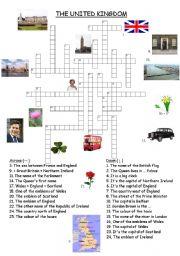 English Worksheet: The United Kingdom crosswords
