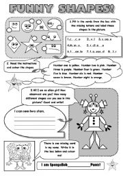 English Worksheets: FUNNY SHAPES! - SHASPES VOCABULARY REVISION