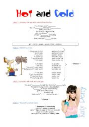 English Worksheet: Song: Hot and Cold - Katy Perry