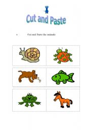 English Worksheets: Cut & Paste the animals!