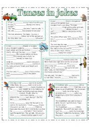 English Worksheets: Tenses in jokes