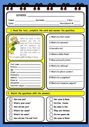 English Worksheet: PERSONAL INFORMATION (2 PAGES)