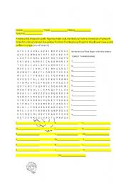 English Worksheet: Thanksgiving word search, word creator and word scramble