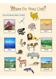 English Worksheets: Animal Habitats - 2 exercises