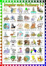 English Worksheets: FUNNY IRREGULAR VERBS PICTIONARY (1-2) B&W VERSION INCLUDED