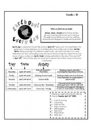 English Worksheet: EARTH DAY ACTIVITIES