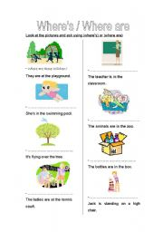 English Worksheets: Where�s / Where are