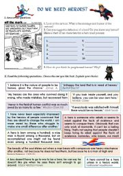 English Worksheets: DO WE NEED HEROES?