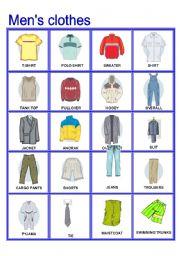 English Worksheet: Men�s Clothes Pictionary (Part B)
