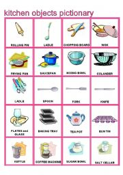 English Worksheet: Kitchen Utensils Pictionary (Part B)